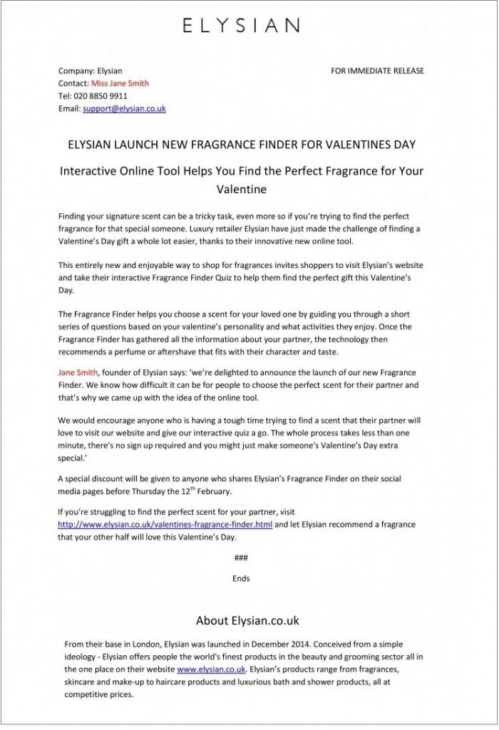 Elysian Press Release 2