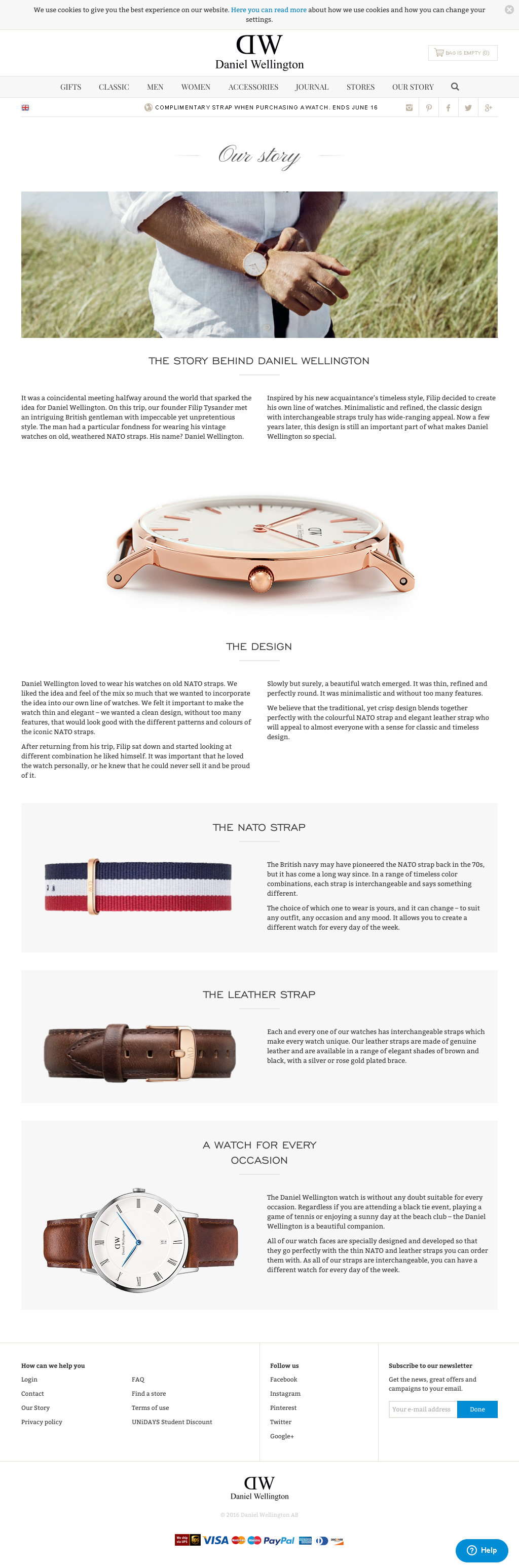 Daniel Wellington About page