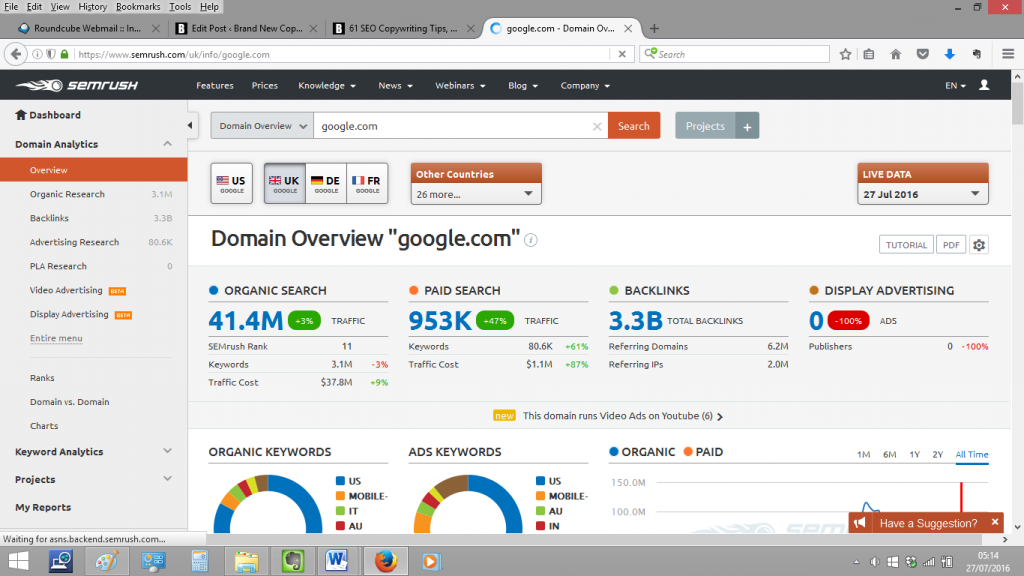 SEMRush homepage