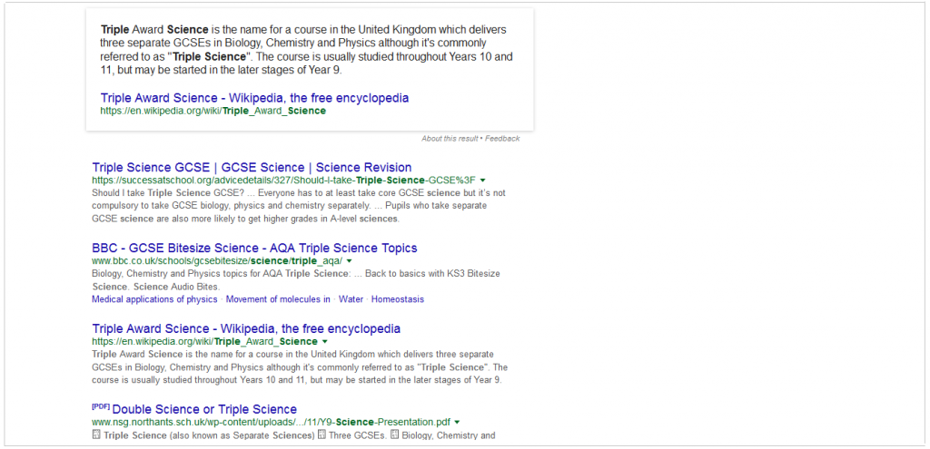 Triple Science search results