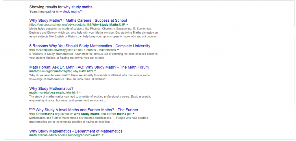 Why Study Maths search results