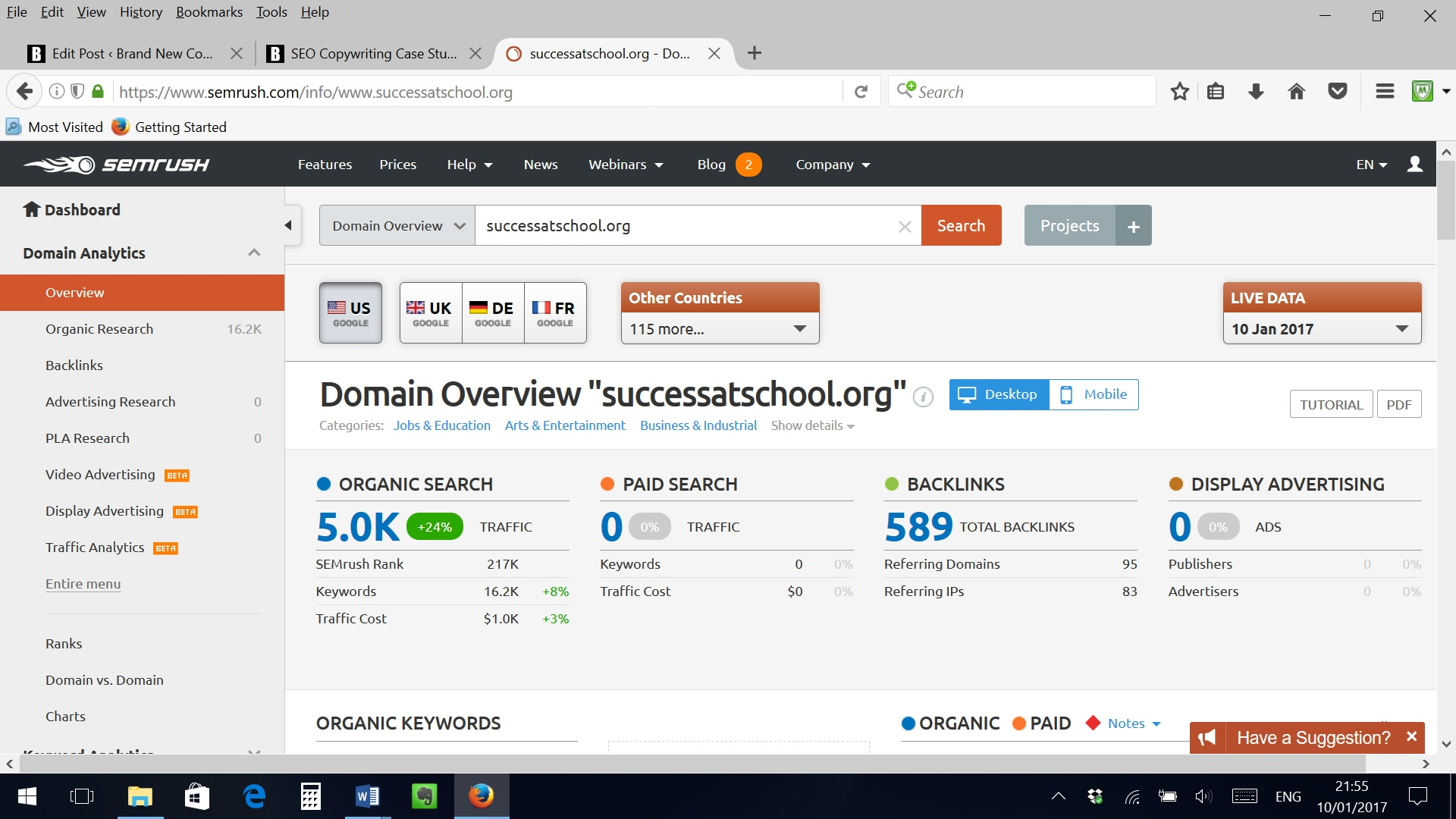 Screenshot of Success at School SemRush profile