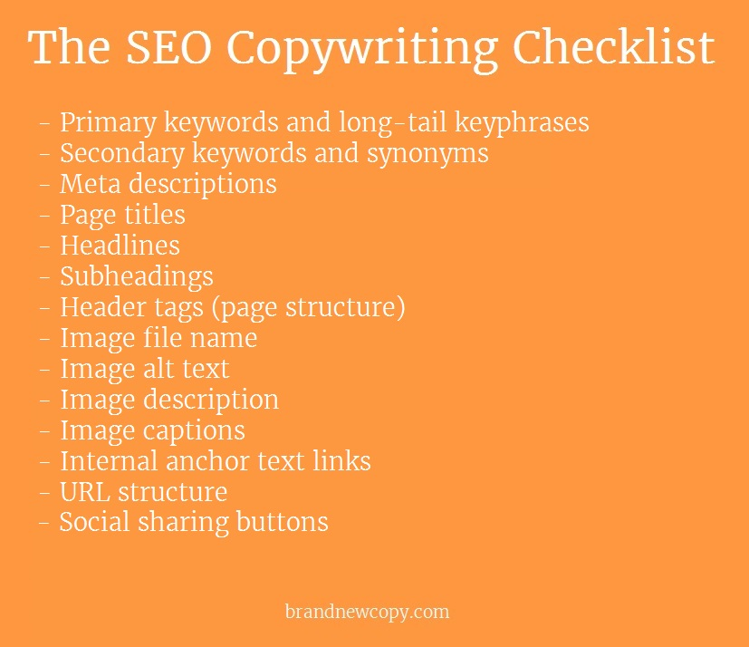 Visual SEO copywriting checklist