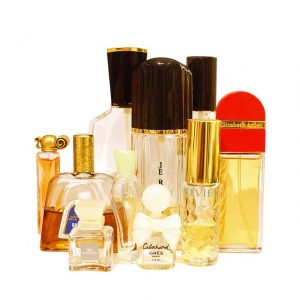 Bottles of perfume against a white background