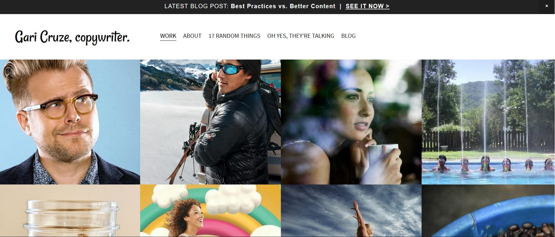 Screenshot of Gari Cruze' copywriting portfolio