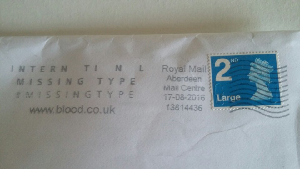 Photo of a letter with a Give Blood campaign