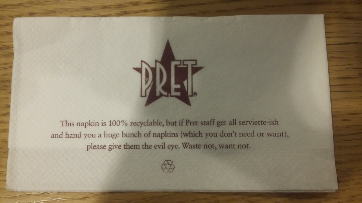 A photo of a Pret a Manger napkin