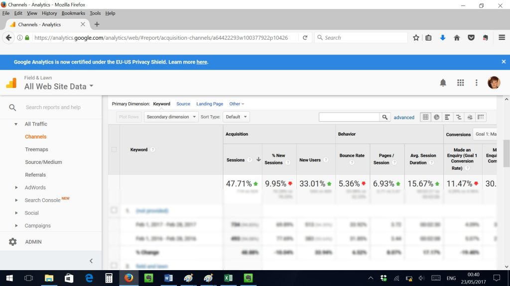 Screenshot of client's Google Analytics