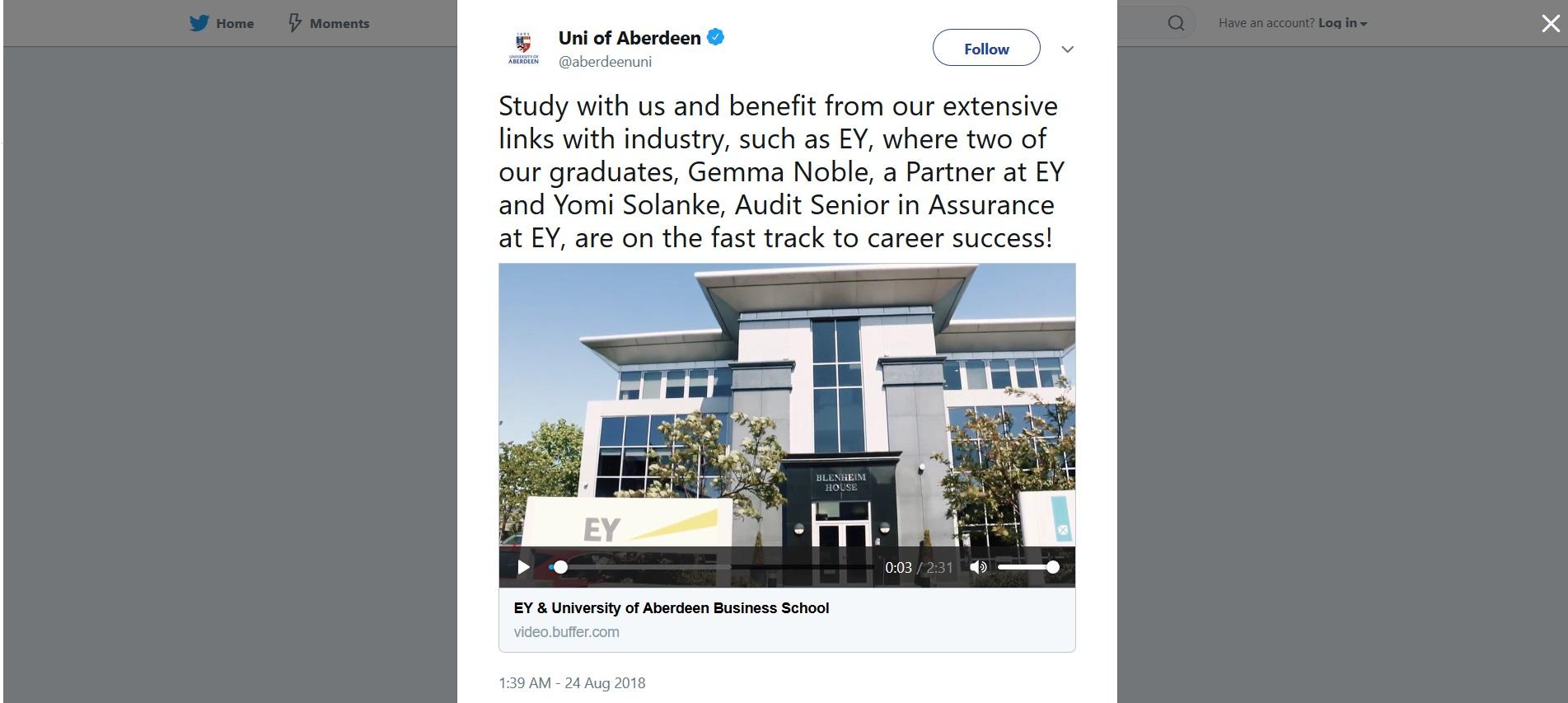 Screenshot of the University of Aberdeen Twitter