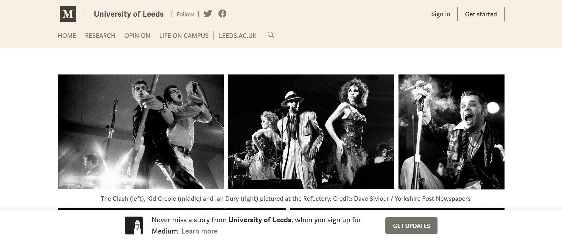 Screenshot of University of Leeds Medium account