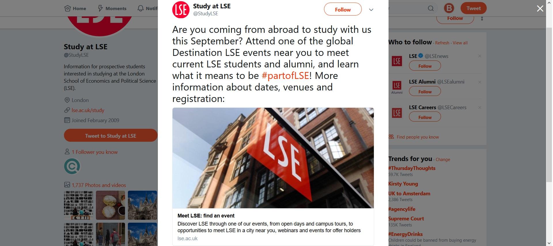 Screenshot of the London School of Economics Twitter