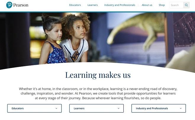 Screenshot of the Pearson website