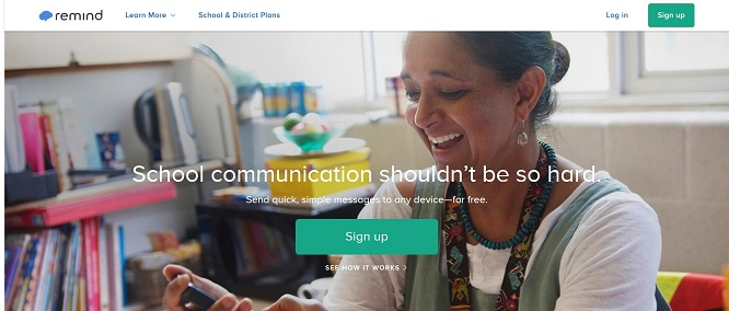 Screenshot of the Remind website