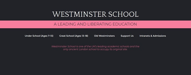 Screenshot of the Westminster School website