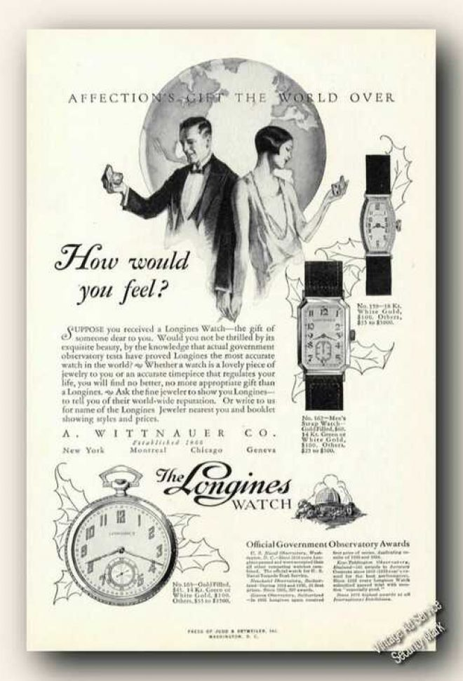 Vintange Longines watch advert