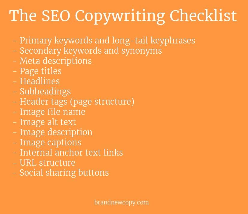 Visual SEO copywriting checklist