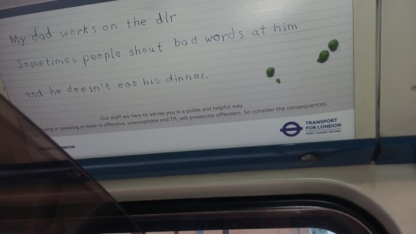 Photo of an advert on the London underground