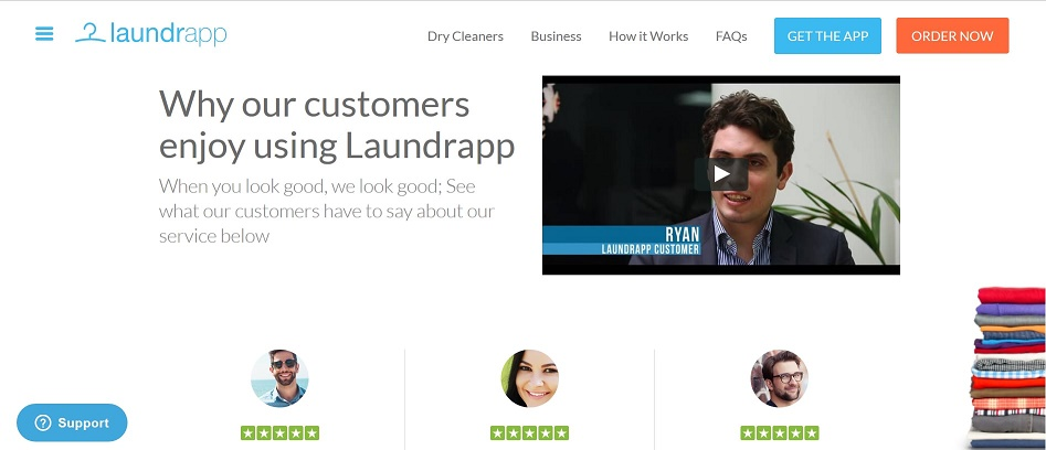 Screenshot of the Laundrapp website