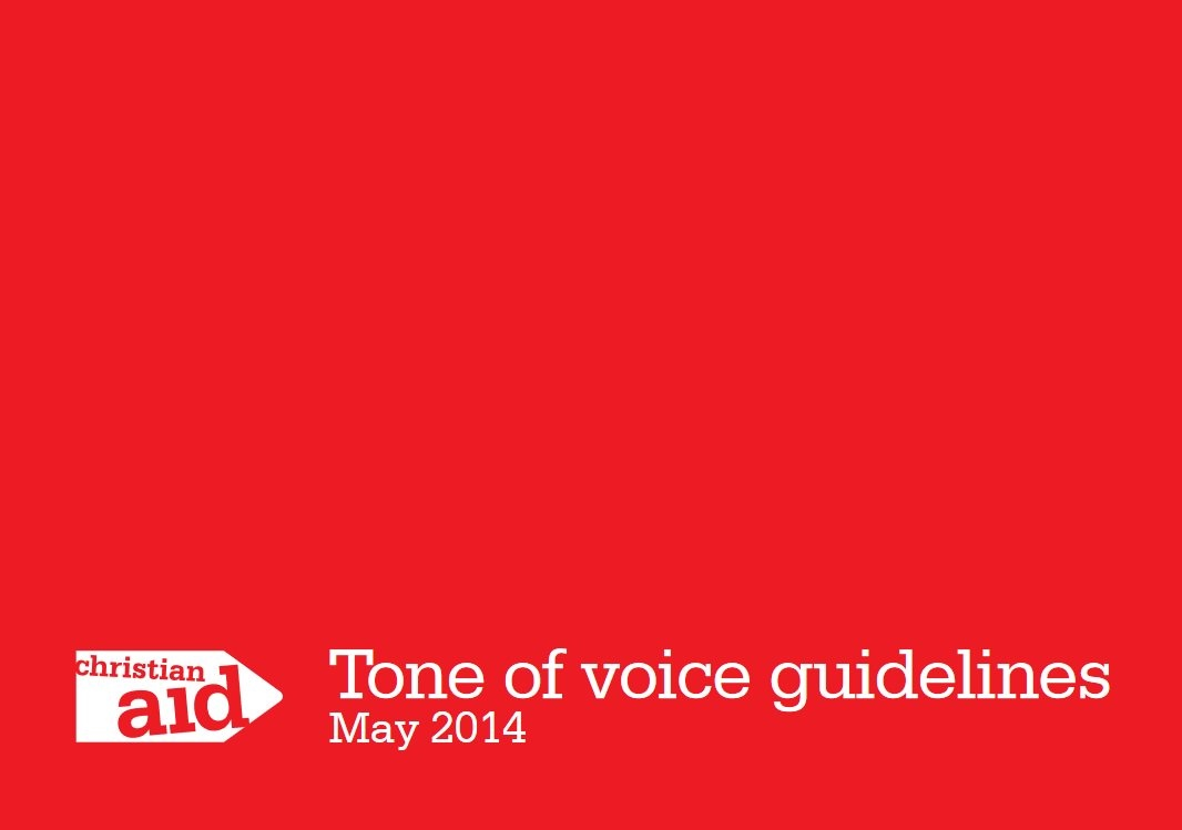 Screenshot of Christian Aid's tone of voice guidelines