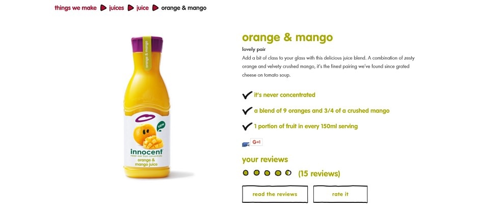 Screenshot from Innocent Smoothies website