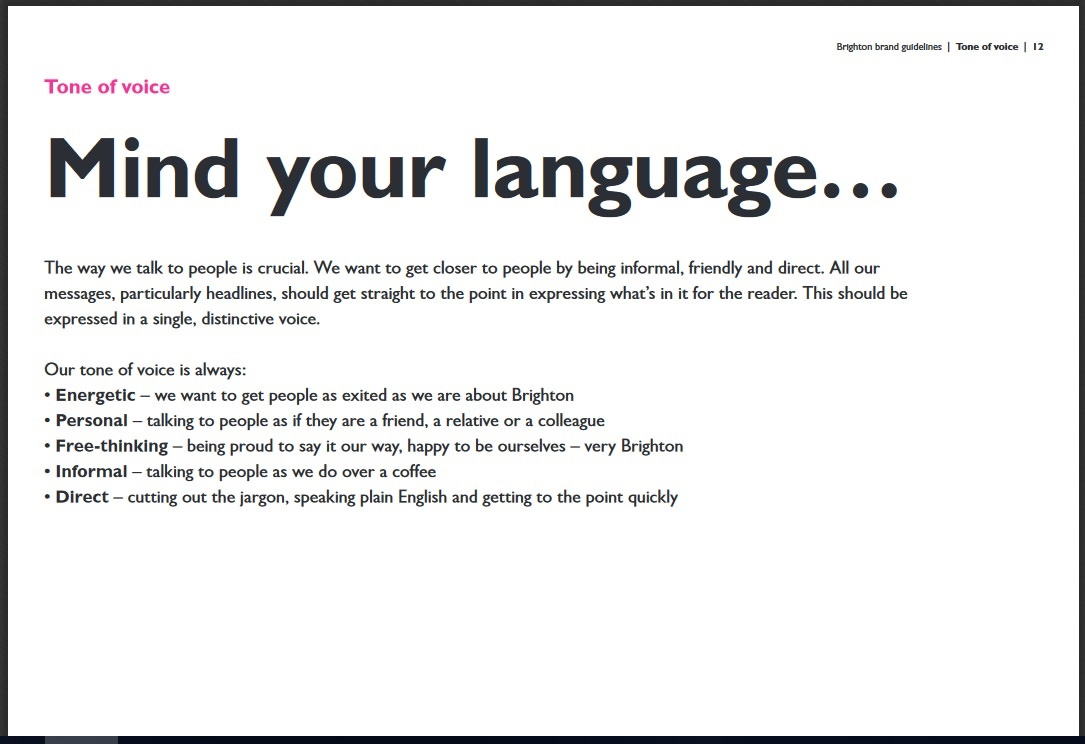 Screenshot of Visit Brighton's tone of voice guidelines
