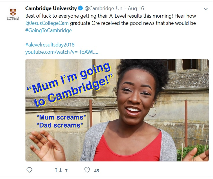 Screenshot of University of Cambridge tweet
