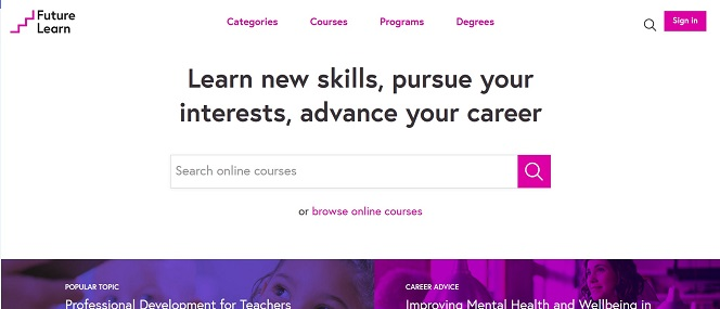Screenshot of the FutureLearn website