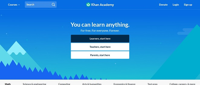 Screenshot of the Khan Academy website