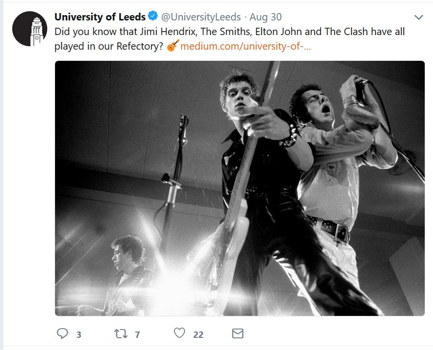Screenshot of the University of Leeds Twitter
