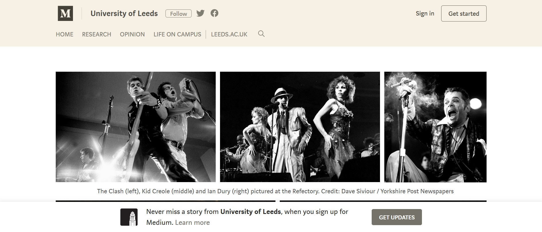 Screenshot of University of Leeds Medium account