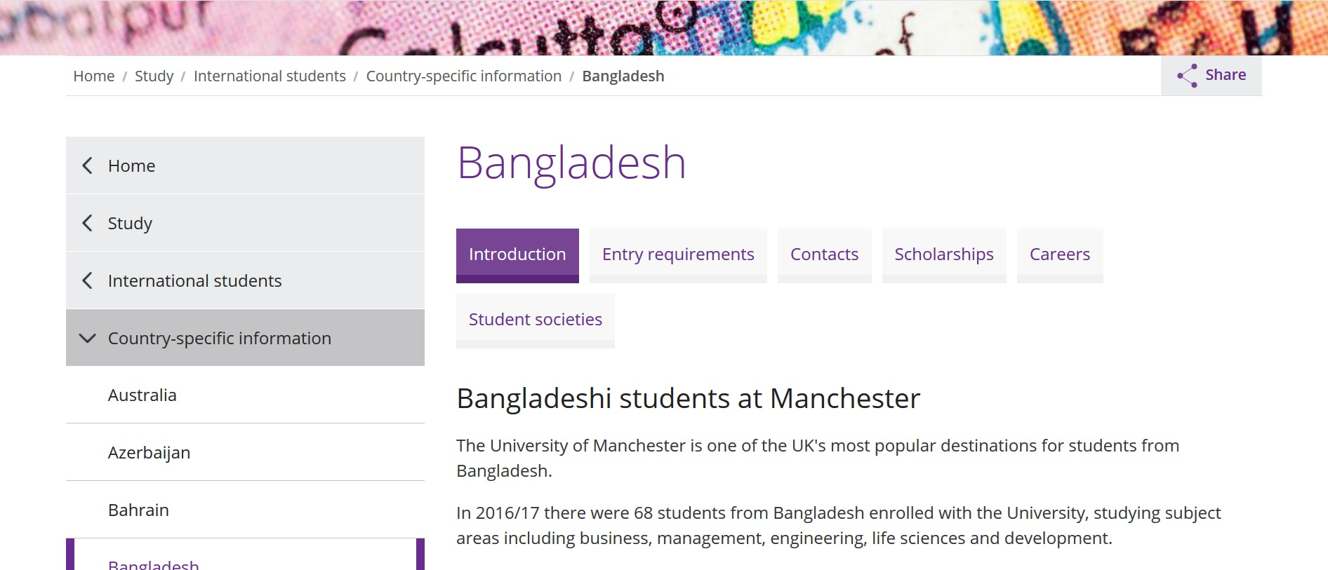 Screenshot of the University of Manchester website