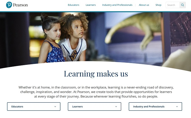 Screenshot of the Pearson website