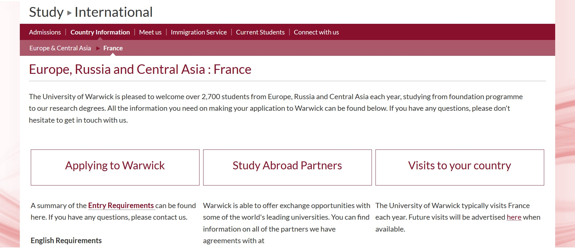 University of Warwick website