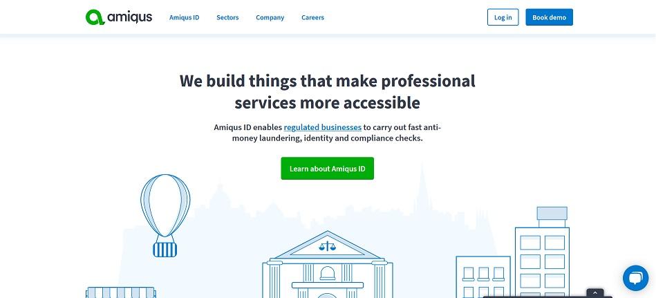 screenshot of the amiqus website