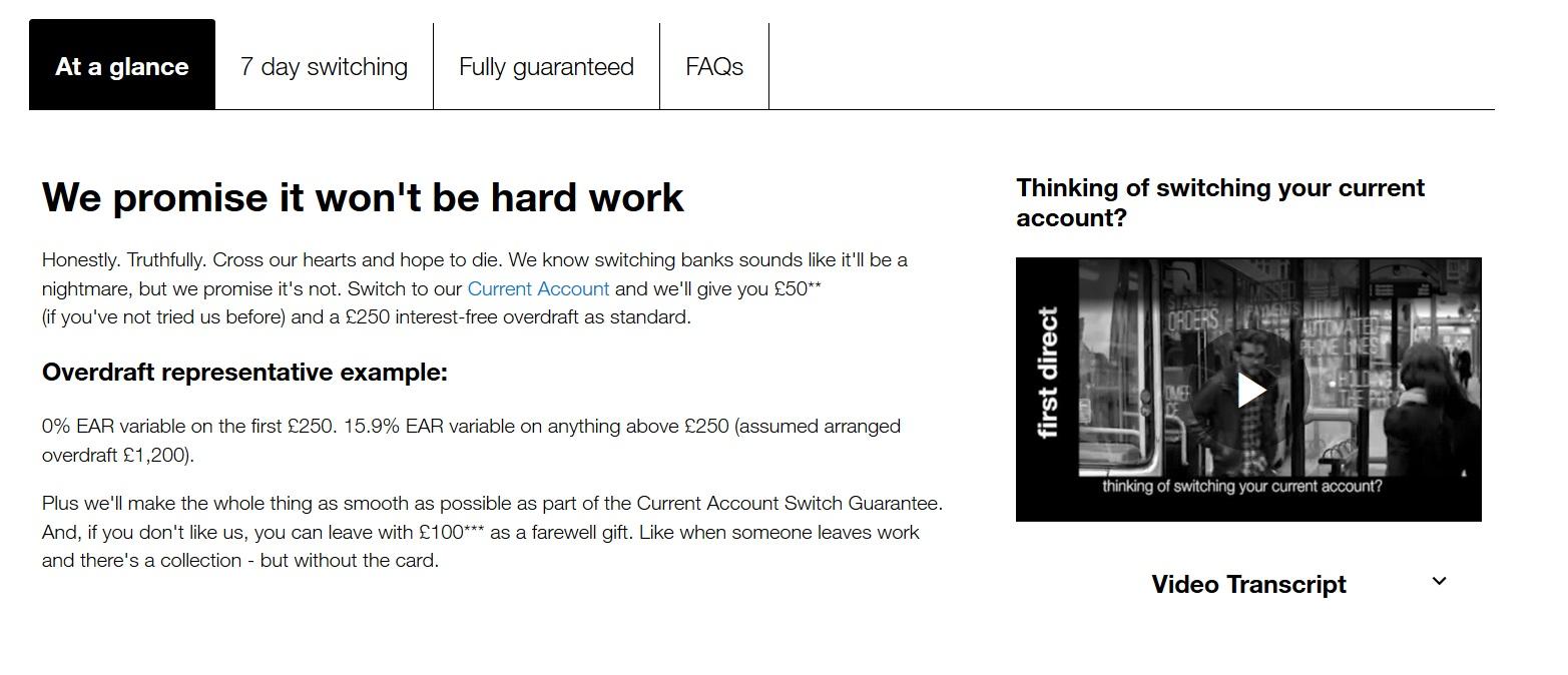 screenshot of first direct website