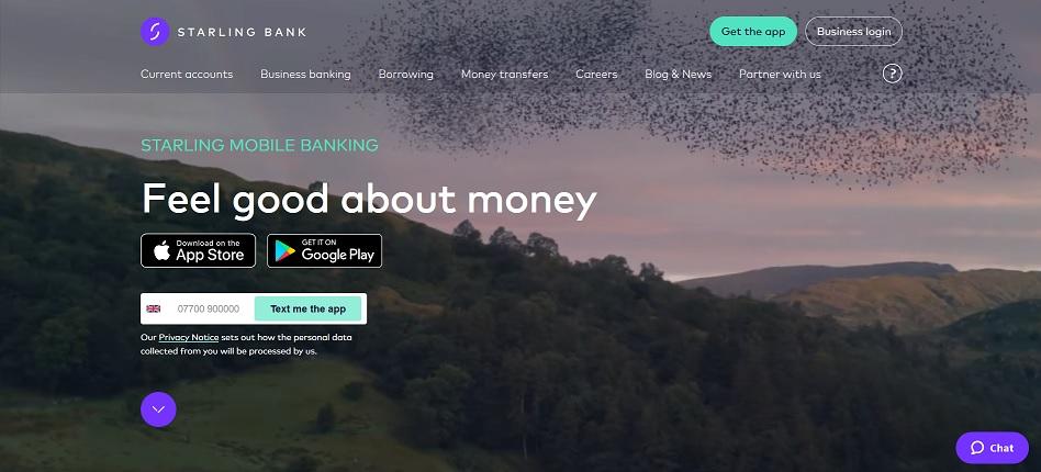 Screenshot of starling bank website