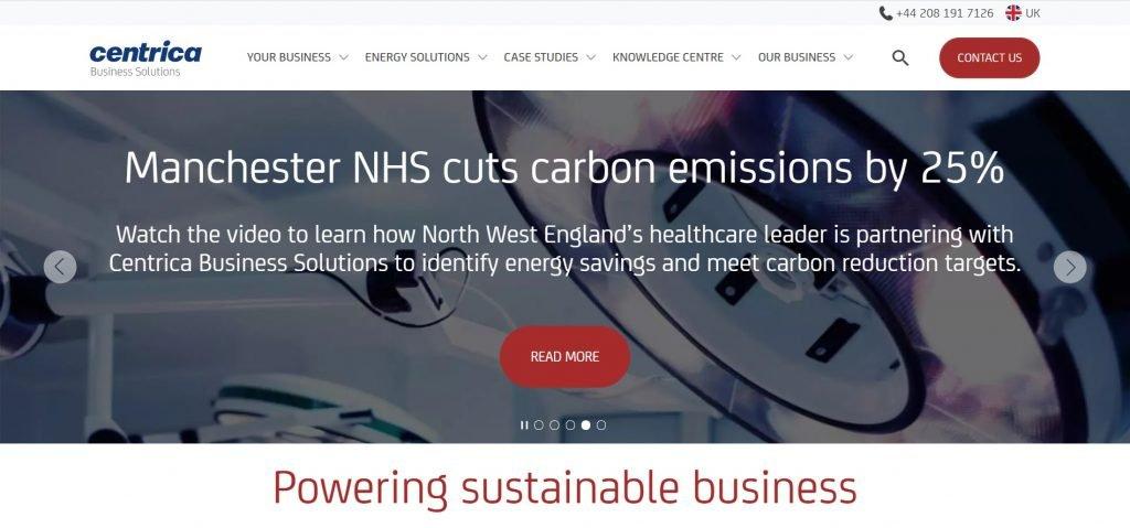 Screenshot of Centrica website