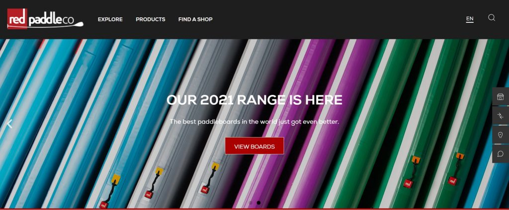 screenshot of Red Paddle Co website