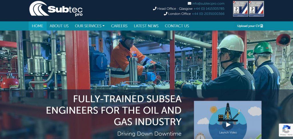 screenshot of Subtec Pro website