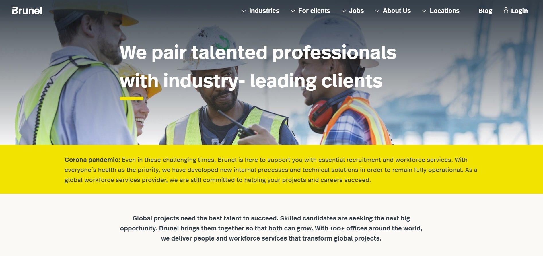 Screenshot of the Brunel website