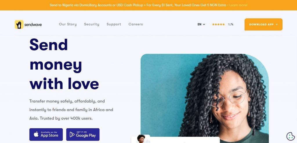 screenshot of sendwave website